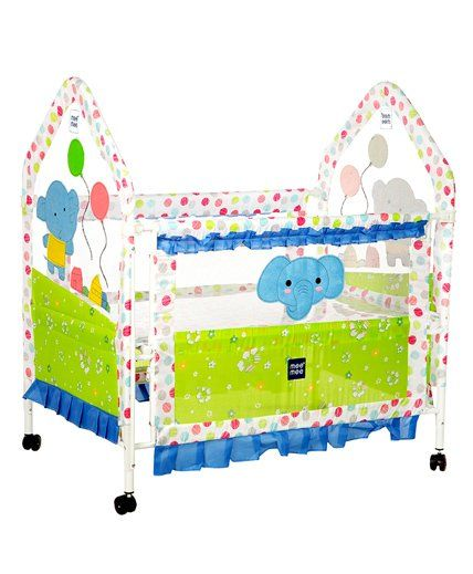 Mee Mee Baby Cot With Swinging Function Elephant Design - Green