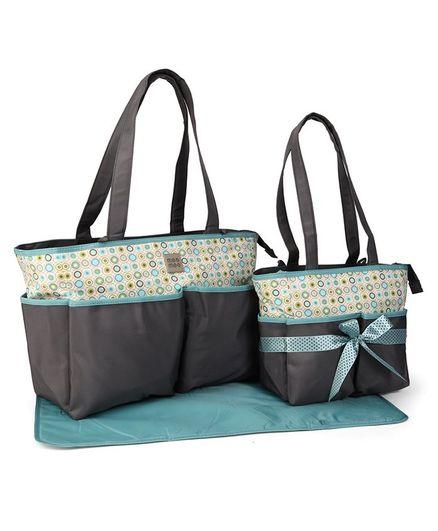 Mee Mee Baby Diaper Bag Set With Changing Mat Circle Design - Grey