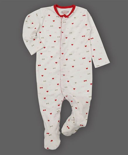 Grandma's Full Sleeves Footed Sleepsuit  Heart Bow Print- Red White