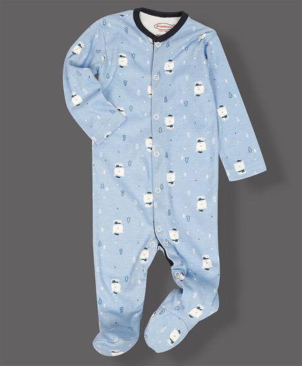 Grandma's Full Sleeves Footed Sleepsuit Teddy Print- White Blue