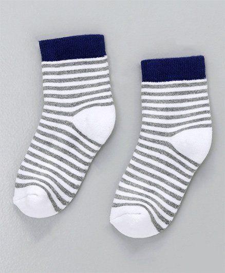 Cute Walk by Babyhug Antibacterial Striped Ankle Length Socks - Navy Grey White