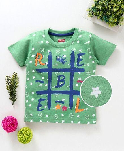 Babyhug Half Sleeves Tee Rebel Print - Green