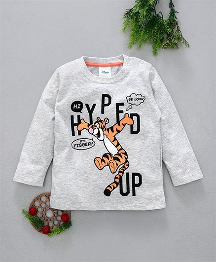 Fox Baby Full Sleeves Tee Tigger Print - Light Grey