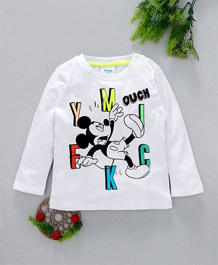 Fox Baby Full Sleeves Tee Mickey Print - White