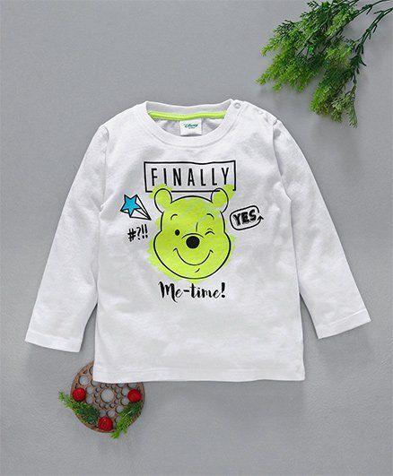 Fox Baby Full Sleeves Tee Pooh Print - White