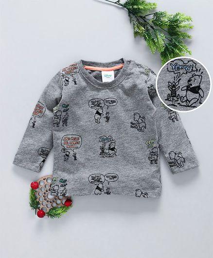 Fox Baby Full Sleeves Tee Pooh & Piglet Print - Grey