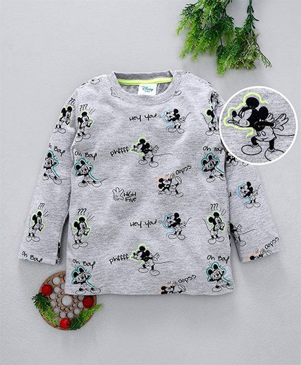 Fox Baby Full Sleeves Tee Mickey Print - Grey