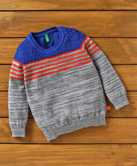 UCB Full Sleeves Striped Sweater - Grey & Blue
