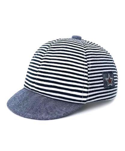 Ziory Striped Baby Summer Cap - Navy Blue