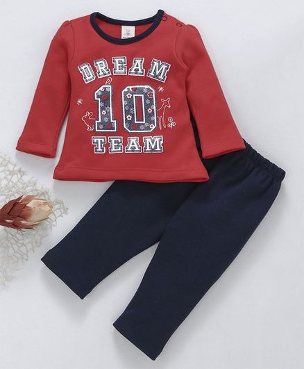 e31bbe1882 Baby Naturelle   Me Winter Wear Full Sleeves Night Suit Dream Team Print - Red  Navy