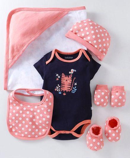 Babyoye Cotton Clothing Gift Set of 6 - Navy Blue Peach