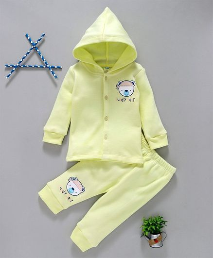 Tango Full Sleeves Hooded Winter Wear Tee & Lounge Pant Cuddly Bear Print - Light Yellow