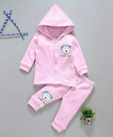 Tango Full Sleeves Hooded Winter Wear Tee & Lounge Pant Cuddly Bear Print - Pink