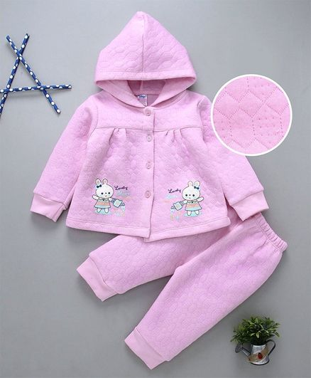 Tango Hooded Winter Wear Jacket & Lounge Pant Bunny Print - Pink