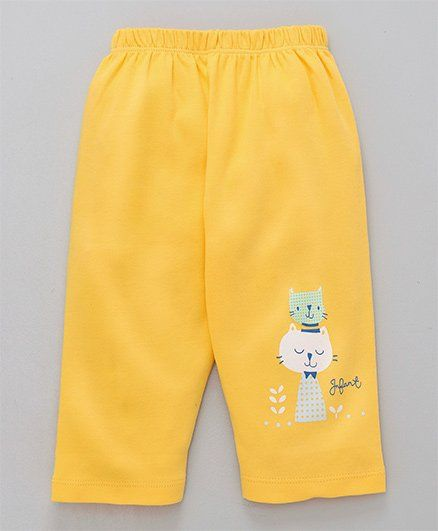 Tango Full Length Cotton Lounge Pant Cat Print - Yellow