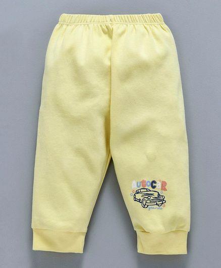 Tango Full Length Lounge Pant Auto Car Print - Yellow