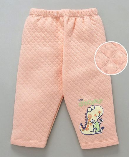 Tango Full Length Winter Wear Quilted Lounge Pant Dinosaur Print - Peach