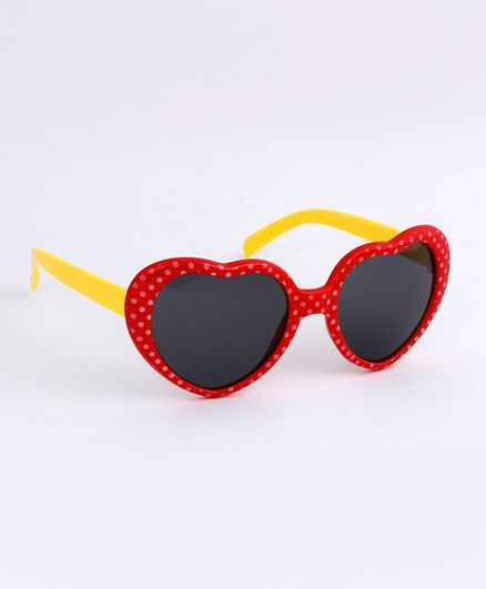 Babyhug Heart Shape Sunglasses - Red Yellow