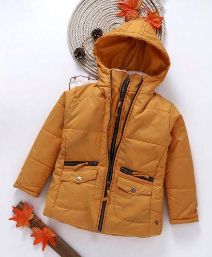 Gini & Jony Full Sleeves Hooded Jacket - Beige