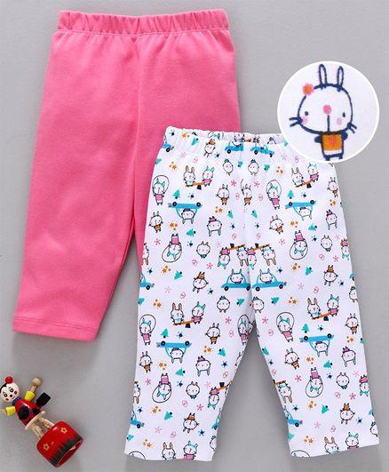Babyhug Full Length Cotton Lounge Pants Cat Print Pack of 2 - Pink White