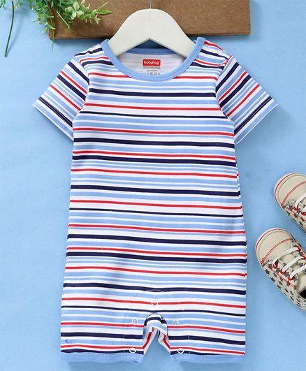 Babyhug Half Sleeves Striped Cotton Romper - Blue