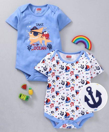 Babyhug Half Sleeves Cotton Onesies Anchor Print  Pack of 2 - Blue