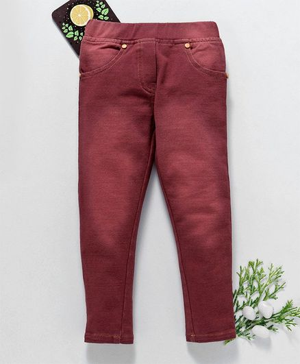 Chicklets Front Pockets Full Length Jeans - Maroon