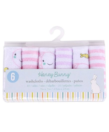 Honey Bunny Printed & Striped Wash Clothes Pack of 6 - Pink