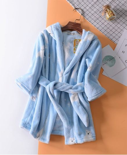 Pre Order - Awabox Full Sleeves Bath Robe Polar Bear Print - Blue