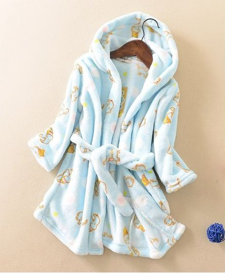 Pre Order - Awabox Full Sleeves Bath Robe Elephant Print - Blue