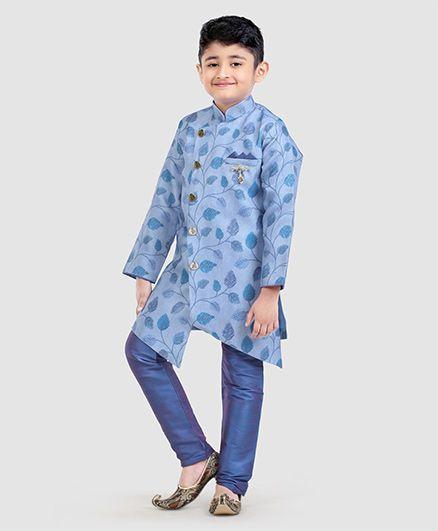 Dapper Dudes Leaves Print Full Sleeves Kurta & Pajama Set - Blue