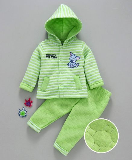 Mom's Love  Hooded Winter Night Suit Tommy Embroidered - Green