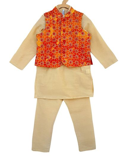Campana Full Sleeves Kurta Pyjama Jacket Set - Gold & Red