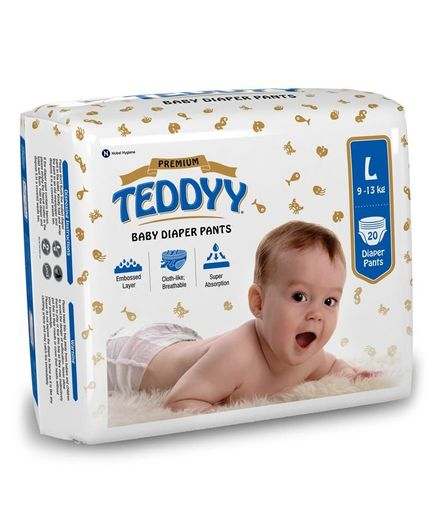Teddyy Baby Premium Pant Style Diapers Large - 20 Pieces