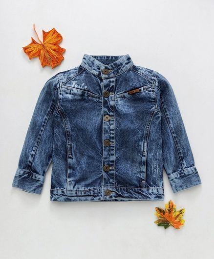 Palm Tree Full Sleeves Washed Style Denim Jacket - Blue