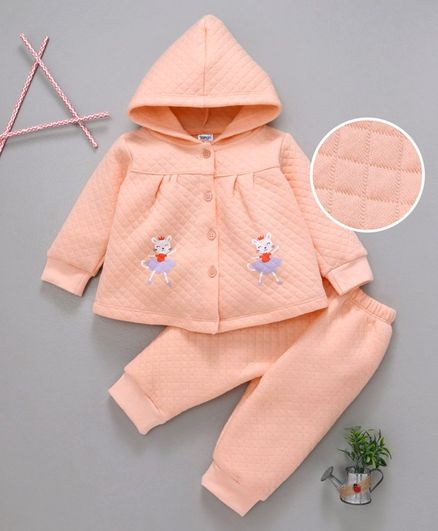 Tango Quilted Winter Wear Hooded Tee & Lounge Pant Kitty Print - Peach