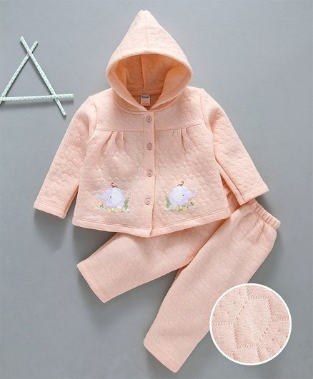 Tango Quilted Winter Wear Hooded Tee & Lounge Pant Elephant Print - Peach