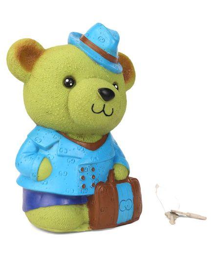Speedage Bear Shaped Money Bank With Keys Green - Height 20 cm