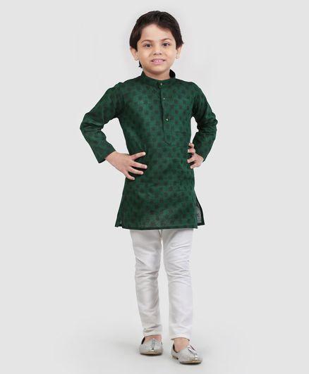 Ridokidz Block Print Full Sleeves Kurta & Pajama Set - Dark Green