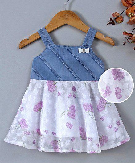 Chicklets Flower Print Sleeveless Dress - Purple