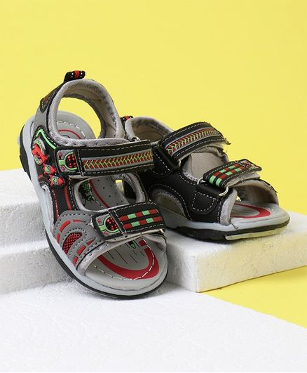 Cute Walk by Babyhug Sandals - Grey Black