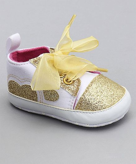 Buy Cute Walk by Babyhug Glitter Booties Beige   White for Girls (6-9 ... 9e6bb35ec78a