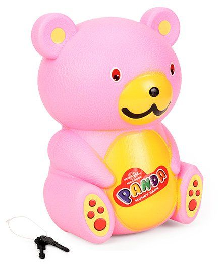 Speedage Bear Shaped Money Bank With Keys Pink - Height 20 cm