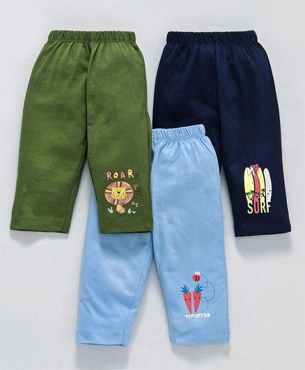 Ohms Full Length Lounge Pants Multi Print Pack of 3 - Blue & Olive Green