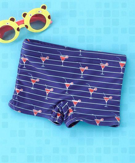 Babyhug Swimming Trunks Stripes Print - Navy Blue