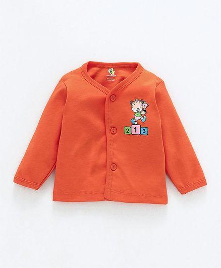 Cucumber Full Sleeves Cotton Vest Bear Print - Orange
