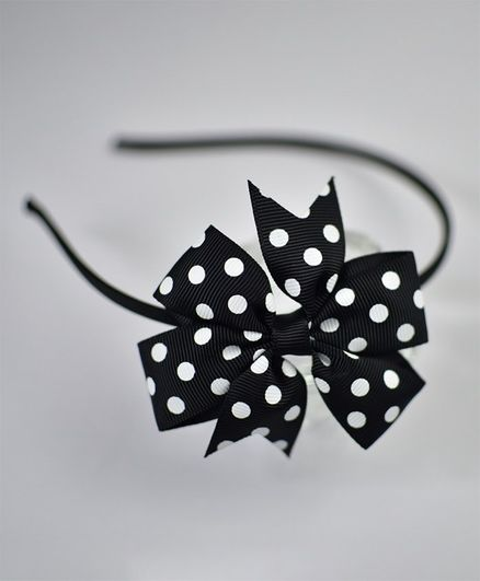 Little Miss Cuttie Polka Dot Hairband Black for Girls (2-12 Years ... 8f26fc63ce8