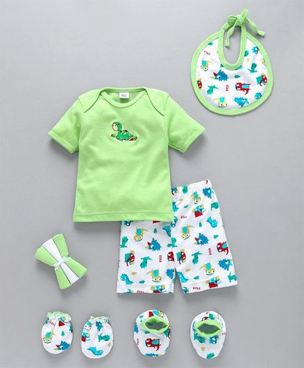 Mee Mee's Clothing Gift Set Green White - Pack of 8