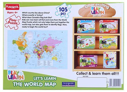 Funskool world map puzzles 105 pieces online india buy puzzle games funskool world map puzzles 105 pieces gumiabroncs Choice Image
