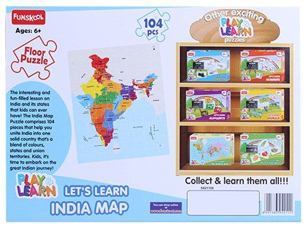 India Map Puzzle.Funskool Learn India Map Puzzle 104 Pieces Online India Buy Puzzle